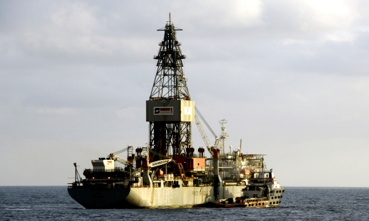 An oil platform of the US Pride company situated off the Angolan coast.